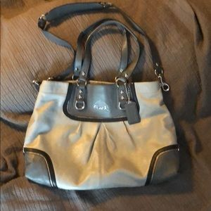 Coach grey bag with silver hardware